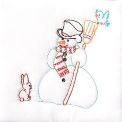 """Stamped White Quilt Blocks 9""""X9"""" 12/Pkg-Snowman"""