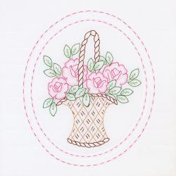 "Stamped White Quilt Blocks 18""X18"" 6/Pkg-Basket Of Flowers"