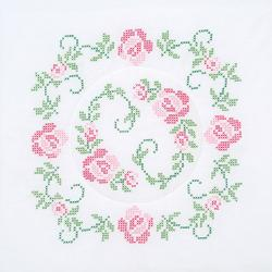"Stamped White Quilt Blocks 18""X18"" 6/Pkg-XXX Circle Of Roses"