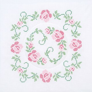 "Stamped White Quilt Blocks 18""X18"" 6/Pkg-XXX Circle Of Roses"