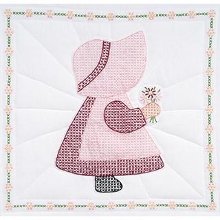 Stamped White Quilt Blocks 18X18in 6/Pkg-Sunbonnet Girl