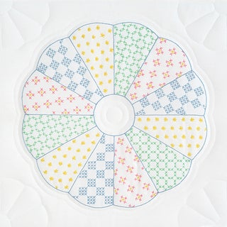 """Stamped White Quilt Blocks 18""""X18"""" 6/Pkg-Interlocking Dresden Circle"""