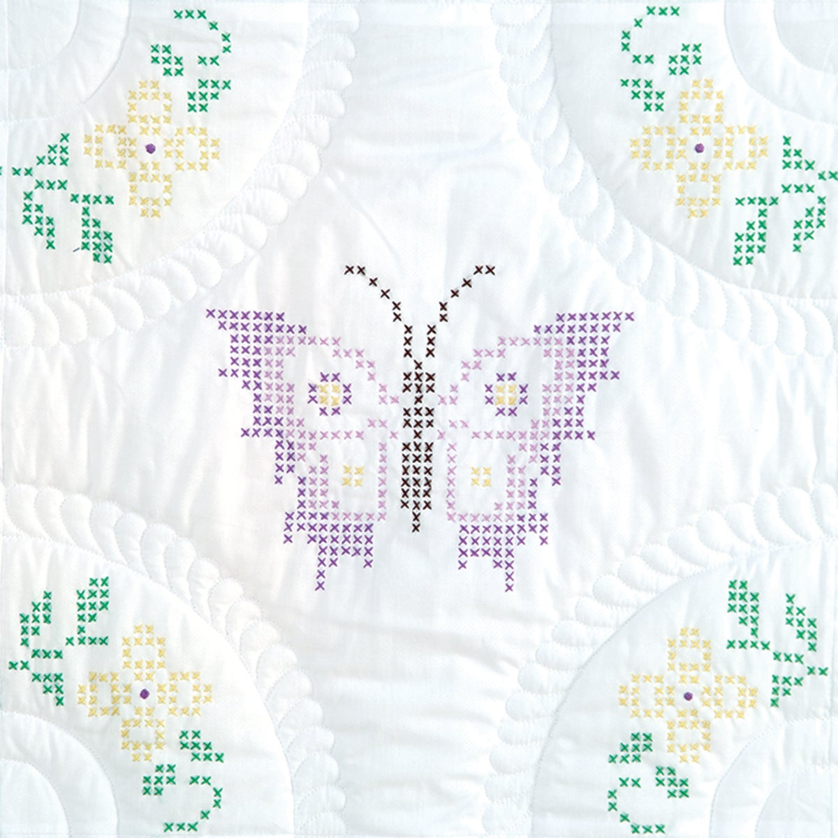 "Stamped White Quilt Blocks 18""X18"" 6/Pkg-Interlocking XXX Butterflies"