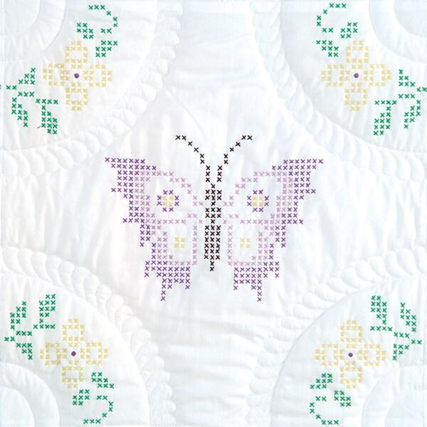 """Stamped White Quilt Blocks 18""""X18"""" 6/Pkg-Interlocking XXX Butterflies"""