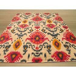 Hand Tufted 'Ikat' Ivory Wool Rug (5' x 8')
