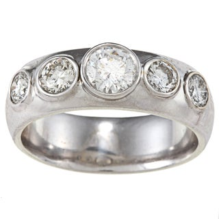 14k White Gold 1 2/3ct TDW Band Estate Ring (G-H, SI1-SI2)