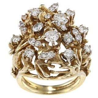 14k Yellow Gold 2ct TDW 1970's Cocktail Ring (G-H, SI1-SI2)