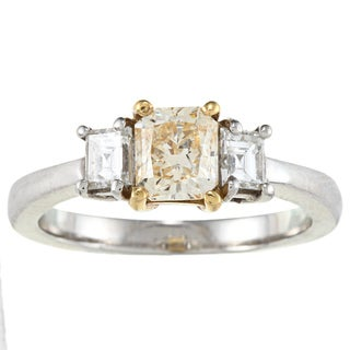 Platinum 1 2/5ct Fancy Yellow TDW Estate Ring (VS1-VS2)