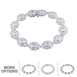 Miadora Sterling Silver Flower Gemstone Bracelet