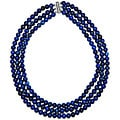 Pearlz Ocean Sterling Silver Lapis Lazuli 3-row Necklace