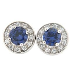 Pearlz Ocean Blue and White Cubic Zirconia Stud Earrings