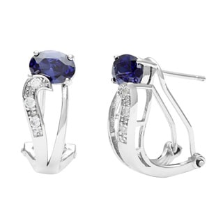 Pearlz Ocean Sterling Silver Blue CZ Oval Earrings