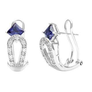 Pearlz Ocean Sterling Silver Blue CZ Square Earrings