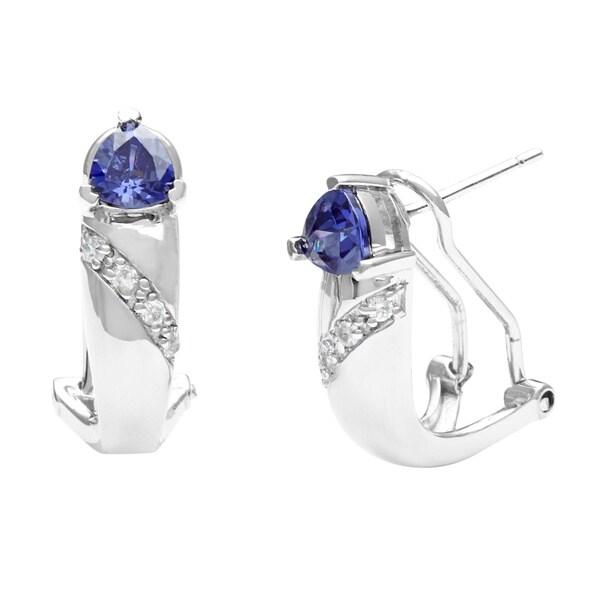 Pearlz Ocean Sterling Silver Blue CZ Trillion Earrings