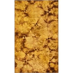 Handwoven Brown Abstract Caparo Street Wool Rug (3'6 x 5'6)