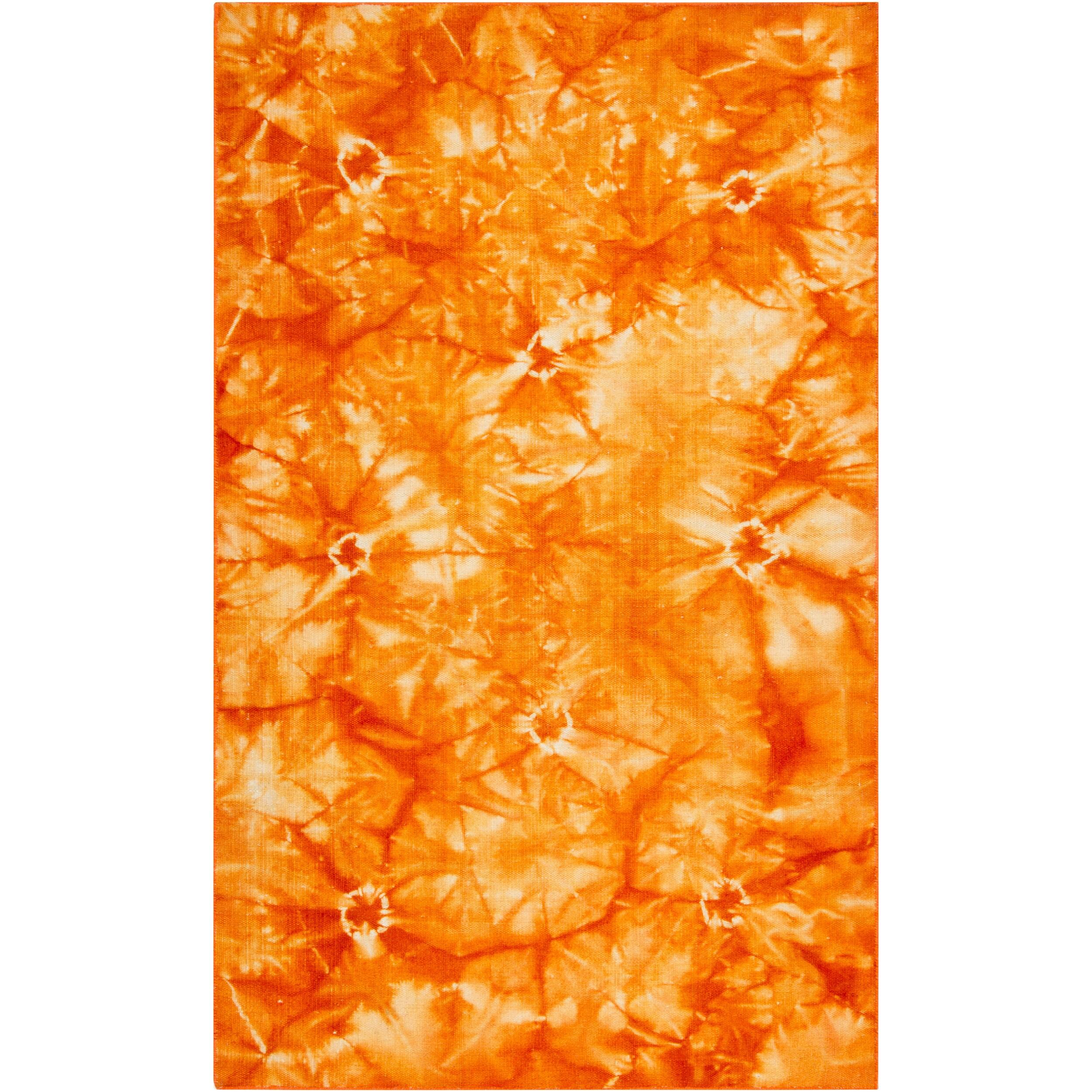 Hand-woven Orange Caparo Street Wool Rug (5' x 8')