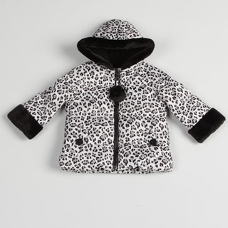 Toddler Girls Black/ White Leopard Jacket