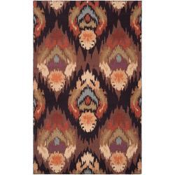 Hand-hooked Brown Benton Rug (2'3 x 8')