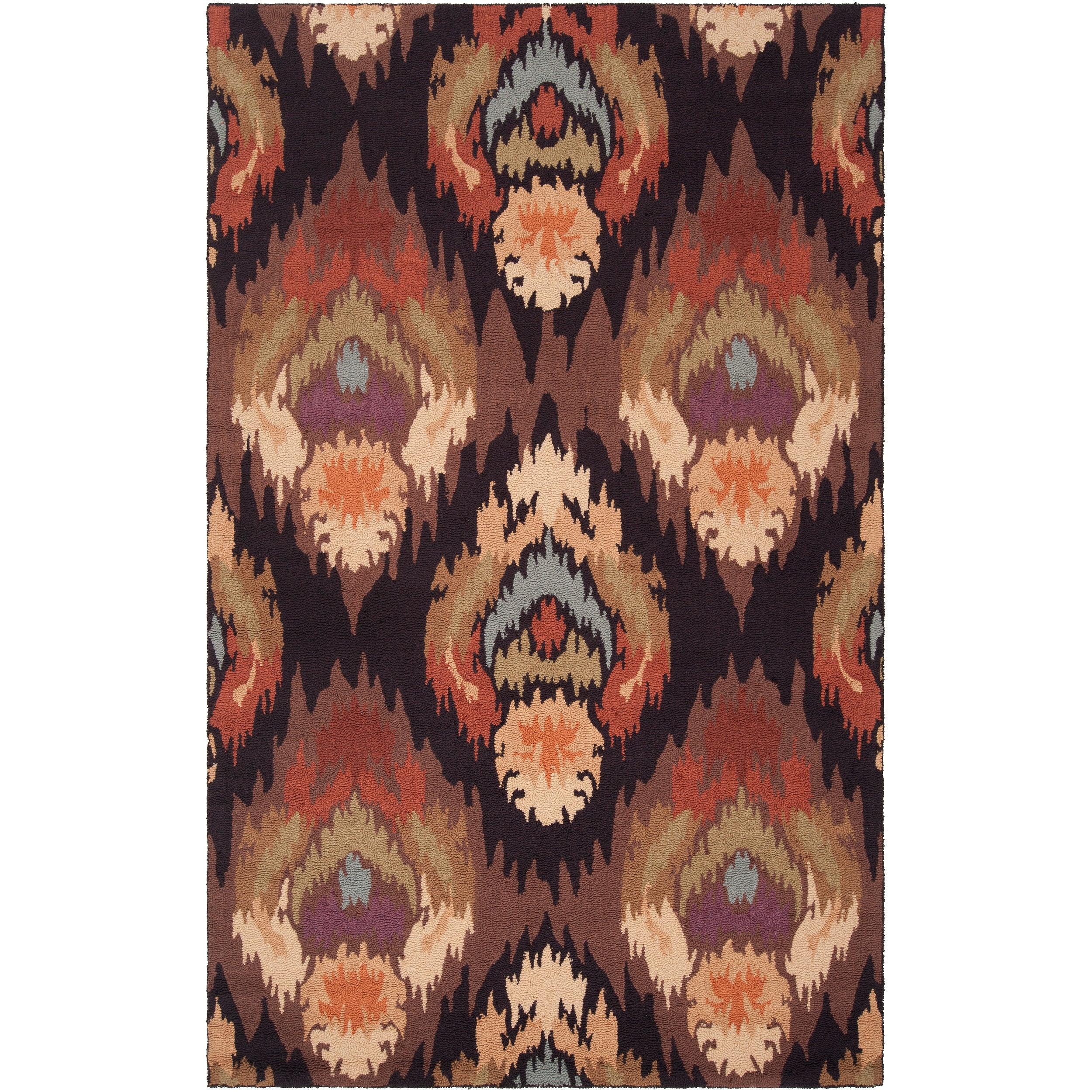 Hand-hooked 'Benton' Brown Rug (8' x 10')