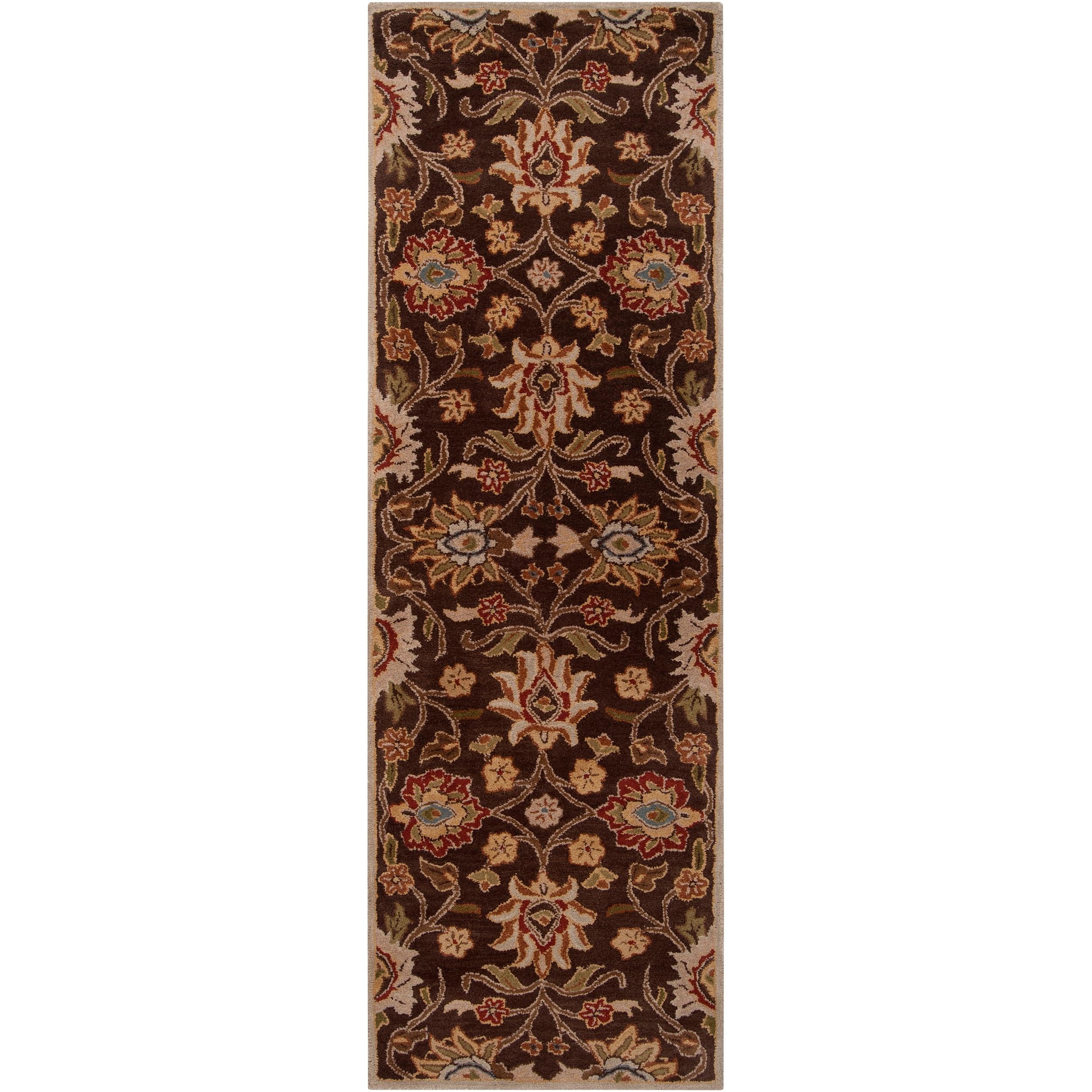 Hand-tufted 'Kiser' Brown Wool Rug (2'6 x 8')