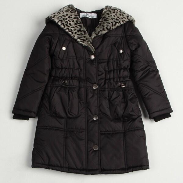 Girl's Black Faux-fur Leopard Coat