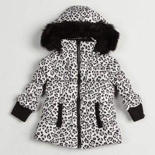 Girl's Black/White Leopard Jacket
