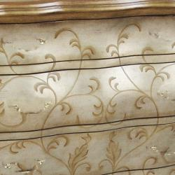 Hand-painted Distressed Gold/ Silver Bombay Accent Chest