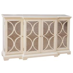 Cream Finish Antiqued Mirror Accent Chest/ Credenza