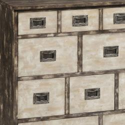 Hand-painted Distressed Brown/ Cream Accent Chest