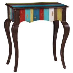 Hand-painted Distressed Brown/ Multicolor Stripped Accent Table