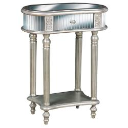 Hand-painted Silver Mirrored Accent Table