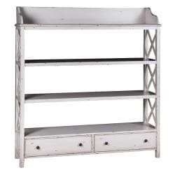 Distressed Vintage White Accent Bookcase