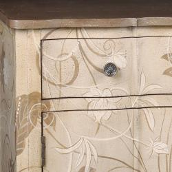 Hand-painted Distressed Brown/ Beige Accent Chest