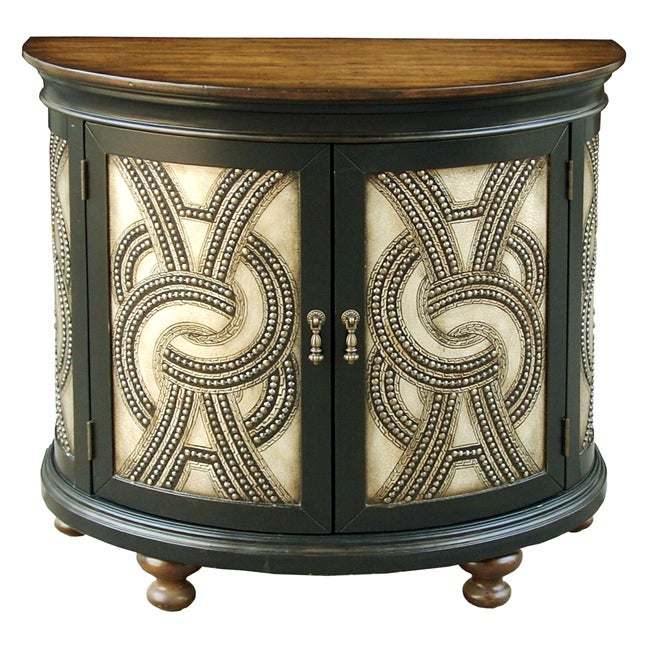 Hand-painted Distressed Brown Faux Metal Front Accent Chest