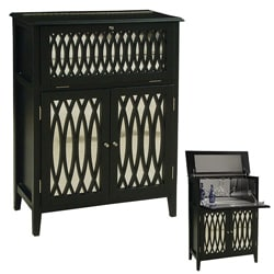 Black Painted Finish Mirrored Wine Bar Chest