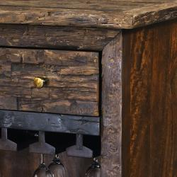 Brown Heavily Distressed Wine Bar Chest