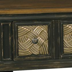 Hand-painted Distressed Brown Accent Console Table
