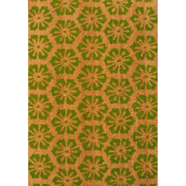 Cocoa Matting 'Green Burst' Tan Door Mat (16 x 24)