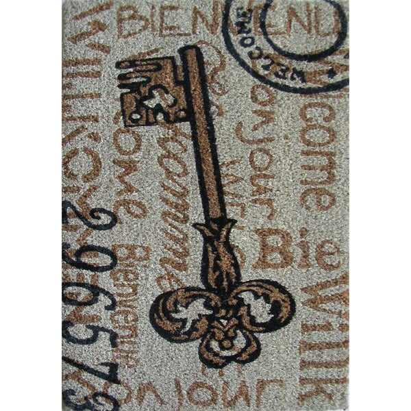 Cocoa Matting 'Large Key' Grey Door Mat (18 x 30)
