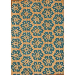 Cocoa Matting 'Blue Burst' Tan Door Mat (16 x 24)