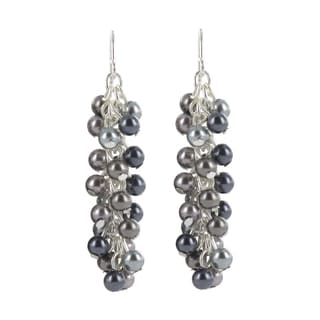 Roman Silvertone Blue and Grey Faux Pearl Dangle Earrings