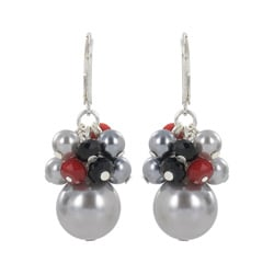 Roman Silvertone Grey Faux Pearl, Red and Black Crystal Dangle Earrings