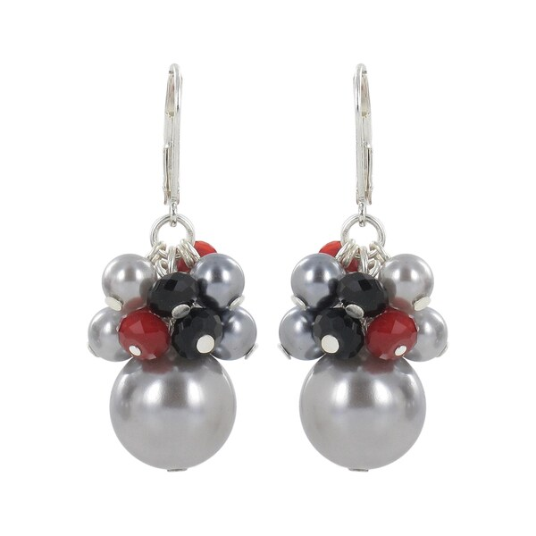 Roman Silvertone Grey Faux Pearl, Red and Black Crystal Dangle Earrings