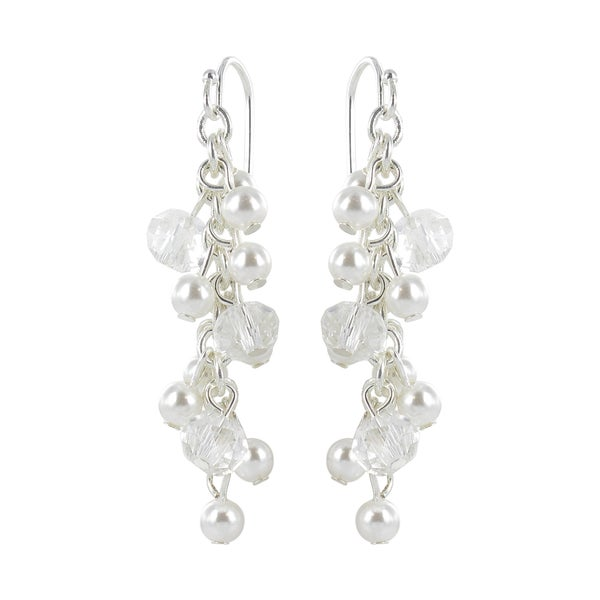 Roman Silvertone White Faux Pearl and Faceted Crystal Dangle Earrings