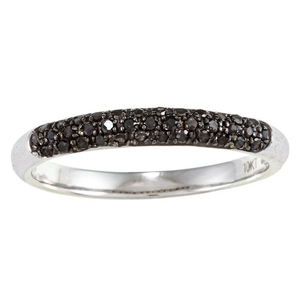 10k White Gold 1/5 TDW Black Diamond Ring (G-H, I1-I2)