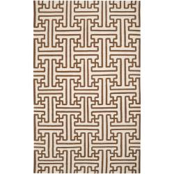 Smithsonian Hand-Woven Geometric Beige Queens Bay Wool Rug (3'6
