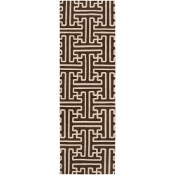 Smithsonian Hand-woven Brown Queens Bay Wool Rug (2'6 x 8')