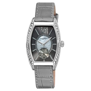 Akribos XXIV Women's Diamond Swiss Quartz Tonneau Black Strap Watch