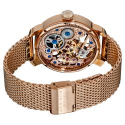 Akribos XXIV Men's Stainless-Steel Mechanical Skeleton Mesh Bracelet Watch