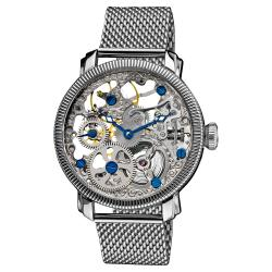 Akribos XXIV Men's Stainless Mechanical Skeleton Mesh Bracelet Watch
